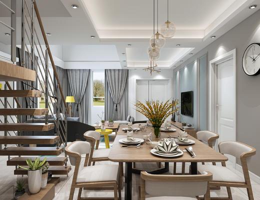 北欧, 挑空, 楼梯, 客餐厅, 客厅, 沙发组合