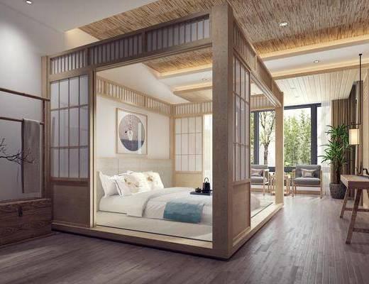 日式卧室, 现代卧室, 双人床
