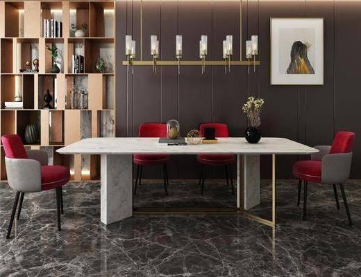 桌椅组合, 餐桌椅, 餐桌, 餐椅, 单人椅, 装饰画, 挂画, 吊灯, 装饰柜, 摆件, 装饰品, 陈设品, 现代