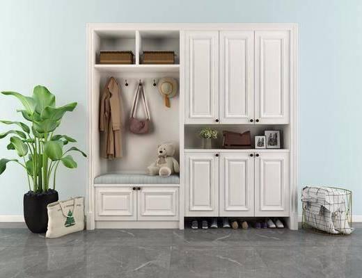 鞋柜, 置物柜, 盆栽植物, 壁柜, 邊柜