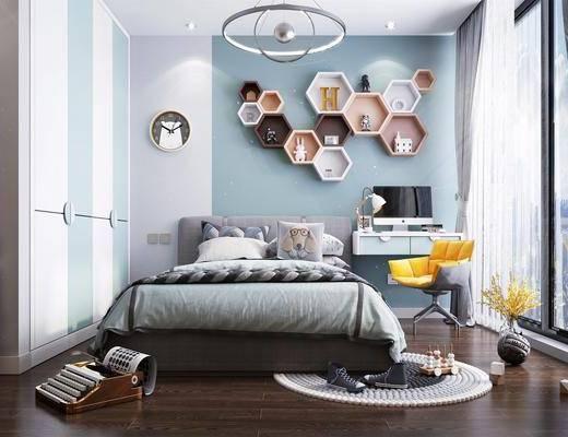 单人床, 灯具, 书桌, 装饰品, 玩具