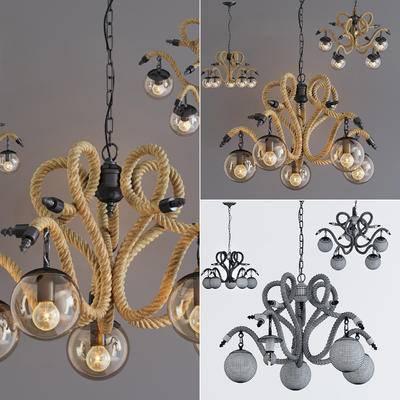 麻绳, 铁艺, 玻璃, 吊灯, 灯, 田园