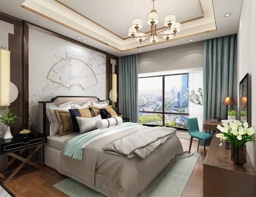 中式卧室, 卧室, 中式床, 电视柜, 床头柜, 中式吊灯