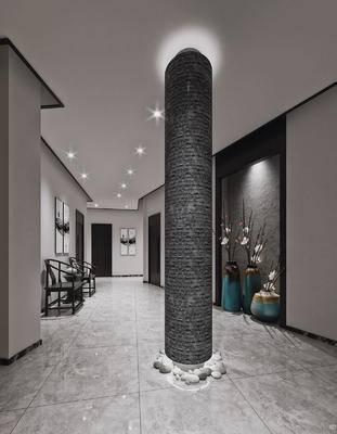 新中式, 走廊, 过道, 盆景, 椅子, 柱子, 中式