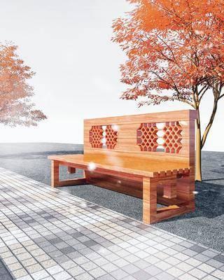 公园景观座椅, 园林, 景观小品, 长椅