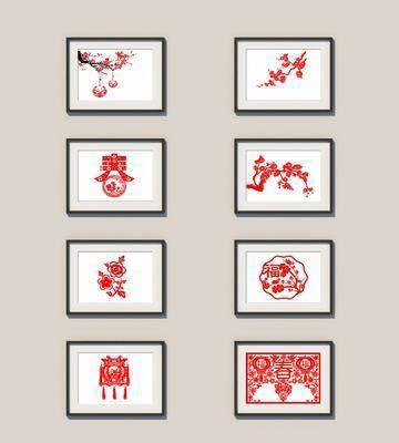 中式挂画剪纸