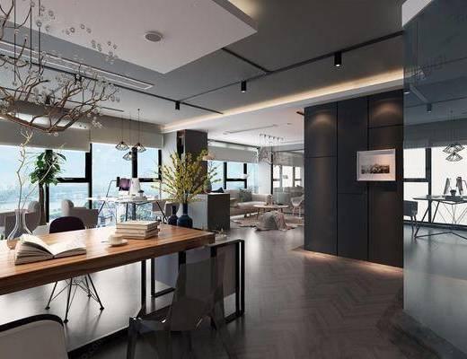 现代, 办公空间, 办公区, 工装