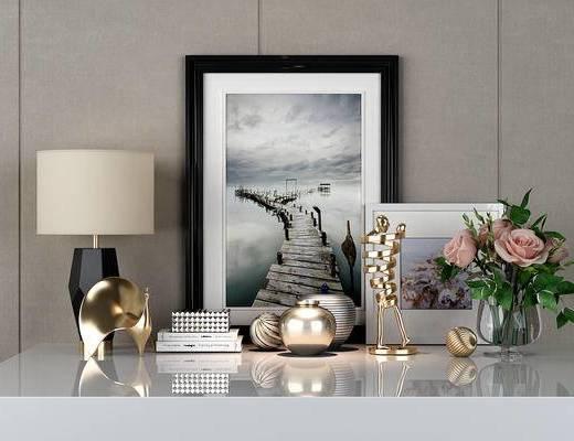台灯, 装饰品, 摆件组合, 装饰画