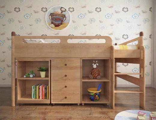 单人床, 上下铺, 书柜, 书籍, 墙饰