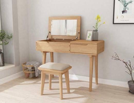 实木妆台, 化妆台, 凳子, 装饰画, 盆栽, 花卉, 桌子, 北欧