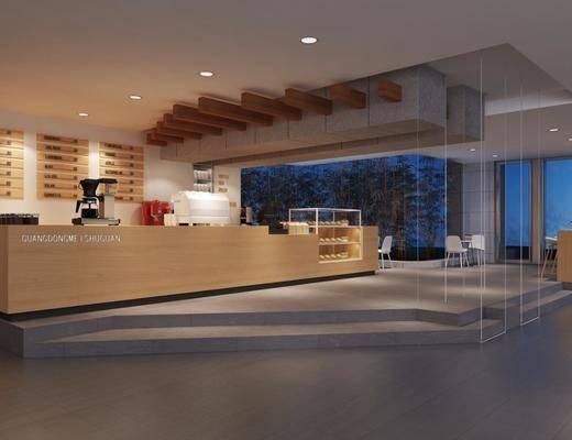 咖啡厅, 前台, 吧台, 吧椅, 单人椅, 桌子, 装饰柜, 墙饰, 装饰品, 陈设品, 现代简约