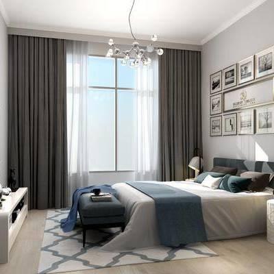 卧室, 床, 装饰画, 挂画, 床头柜, 床尾凳, 台灯, 电视柜, 现代