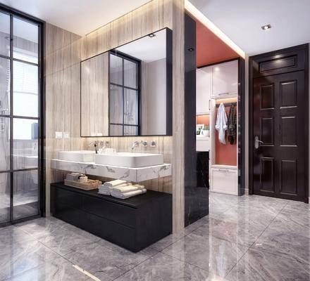 现代厨房, 现代卫生间, 现代?#35789;?#21488;, 现代橱柜, 置物架, 餐具, 洗衣机