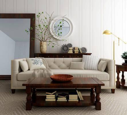 多人沙发, 茶几, 落地灯, 边几, 装饰柜, 边柜, 墙饰, 摆件, 装饰品, 陈设品, 美式