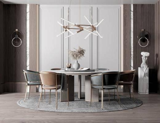 餐桌, 桌椅组合, 吊灯, 花瓶, 装饰品