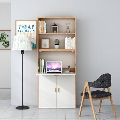 书柜, 书桌, 桌椅组合, 落地灯, 书籍, 装饰画