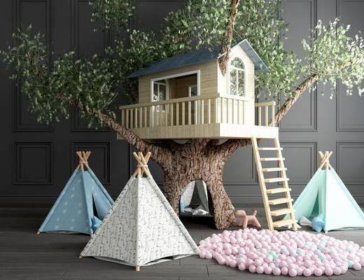 卡通房子, 木房子, 玩具房, 树木, 帐篷, 玩具摆件组合