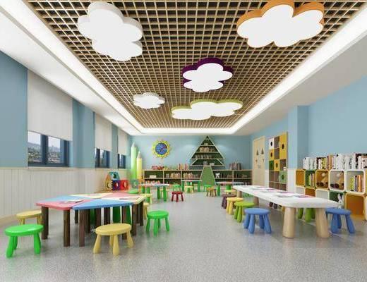 幼儿园, 教室, 桌子, 单人椅, 凳子, 吸顶灯, 装饰柜, 书柜, 书籍, 玩具, 现代