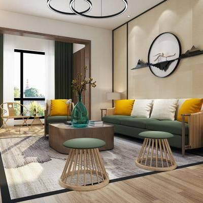 新中式客厅, 中式客厅, 客厅, 沙发组合, 中式沙发, 沙发茶几组合