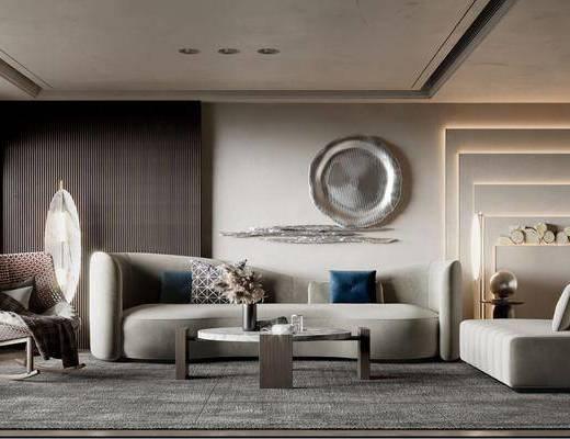 现代, 客厅, 多人沙发, 休闲椅, 挂饰, 边几, 摆件