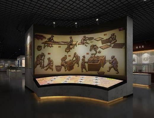 中式博物馆, 壁画, 古代钱币, 中式