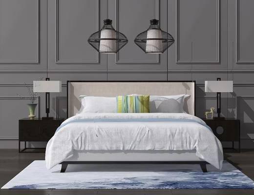 床具组合, 双人床, 床头柜, 台灯, 吊灯, 吊灯组合, 新中式