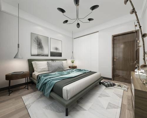 卧室, 床具组合, 现代简约卧室, 现代简约, 吊灯, 床头柜, 电视柜, 摆件, 现代