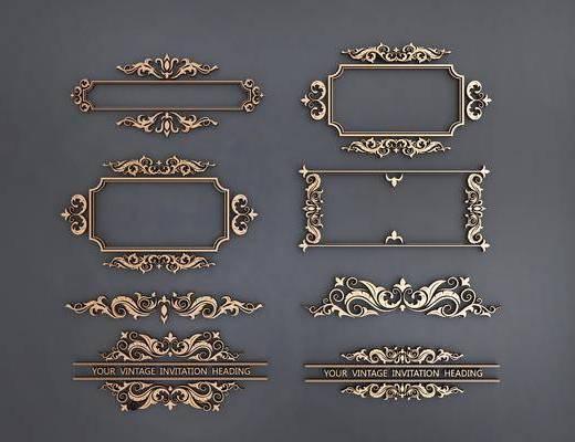 金属花边, 边框, 镂花, 雕花, 现代, 双十一