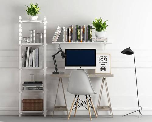 书桌, 单人椅, 装饰架, 落地凳, 北欧