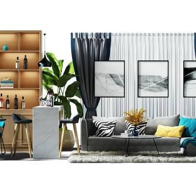 沙发组, 窗帘, 酒柜, 装饰柜, 餐桌椅组合, 桌椅, 餐桌, 桌椅组合, 吧台, 吧椅, 盆景, 植物, 北欧