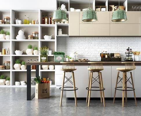 吧台, 吧椅, 单人椅, 装饰柜, 吊灯, 装饰品, 陈设品, 橱柜组合, 北欧