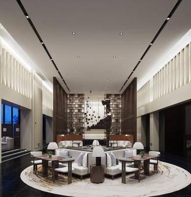 休闲会所, 多人沙发, 圆弧沙发, 边几, 台灯, 现代