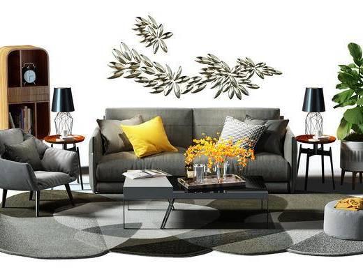 沙发组, 双人沙发, 沙发椅, 椅子, 装饰柜, 书柜, 边柜, 盆景, 植物, 墙饰, 沙发凳