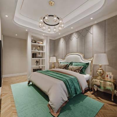 卧室, 现代, 简欧, 床, 吊灯, 床头柜, 台灯, 摆件, 置物架, 现代卧室, 简欧卧室, 双十一