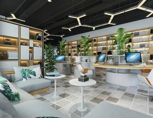 办公室, 办公桌, 单人椅, 办公椅, 绿植, 边几, 转角沙发, 多人沙发, 书柜, 装饰柜, 书籍, 装饰品, 陈设品, 盆栽, 现代