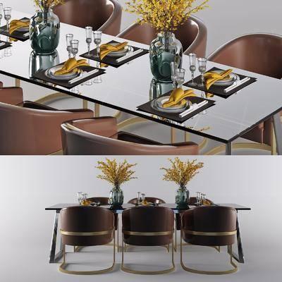 現代輕奢餐桌3D模型, 餐桌椅, 桌椅組合, 花瓶花卉, 餐具