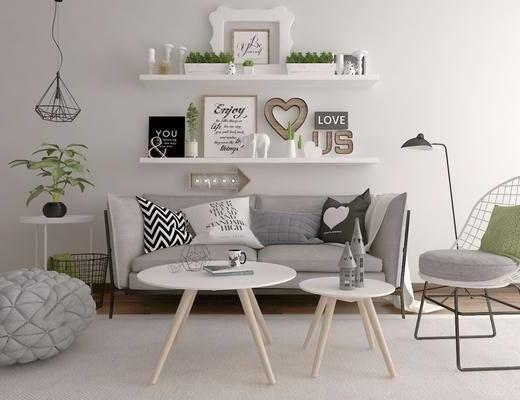沙发组合, 双人沙发, 单椅, 沙发凳, 盆栽, 现代