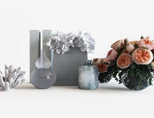 摆件组合, 花瓶花卉, 装饰品, 陈设品, 现代