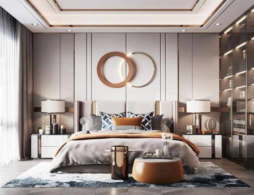 双人床, 床具组合, 墙饰, 床头柜, 衣柜, 台灯