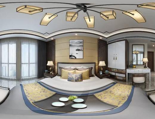 新中式卧室, 衣柜, 卧室, 花格, 全景模型, 新中式, 中式吊灯, 中式床