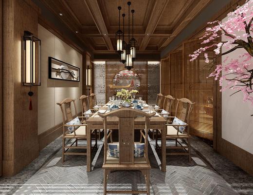 餐厅, 中式餐厅, 餐桌椅, 桌椅组合, 吊灯, 壁灯
