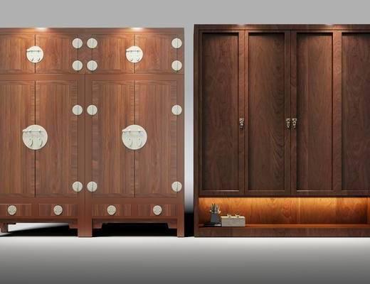 中式衣柜, 实木衣柜, 摆件