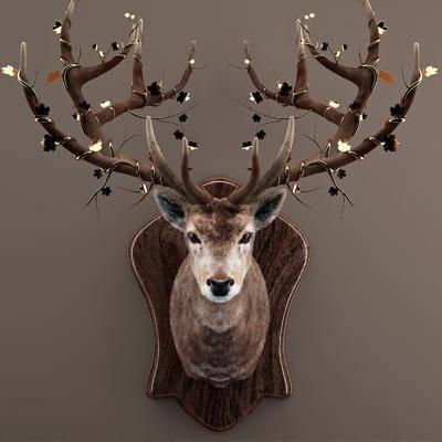 动物墙饰, 鹿, 墙饰, 壁灯, 现代