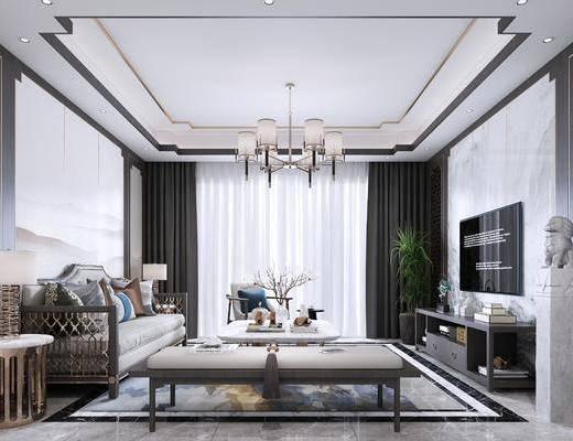 客厅, 沙发组合, 电视柜, 边柜, 吊灯, 茶几组合