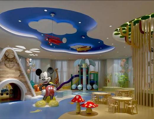 幼儿园, 幼儿园活动室, 幼儿园多功能室, 幼儿园教室, 儿童桌椅, 儿童吊灯, 玩具