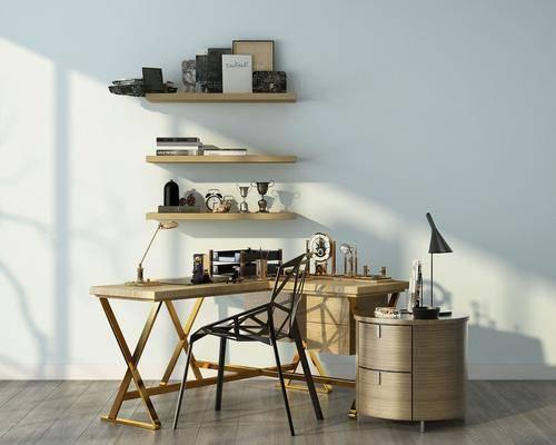 办公桌, 书桌, 置物架, 台灯, 边几, 装饰品, 陈设品, 现代