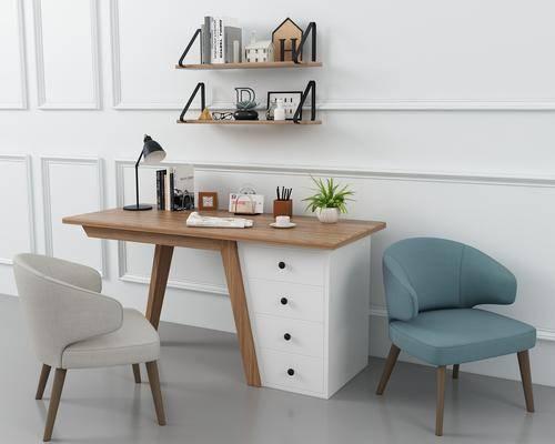书桌, 办公桌, 摆件, 单人沙发, 装饰架, 现代