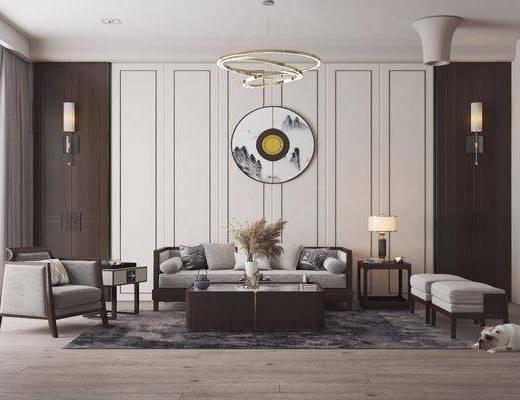 新中式, 客厅, 沙发, 单椅, 边几, 装饰品