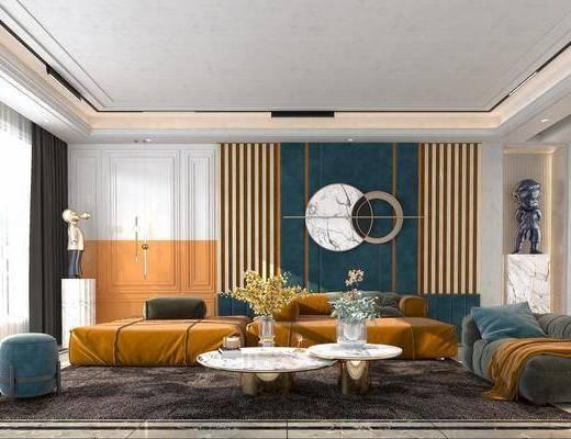 沙发茶几组合, 饰品, 摆件, 背景墙, 墙饰