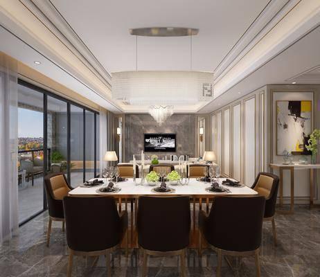 新古典餐厅, 餐厅, 吊灯, 椅子, 餐桌, 植物